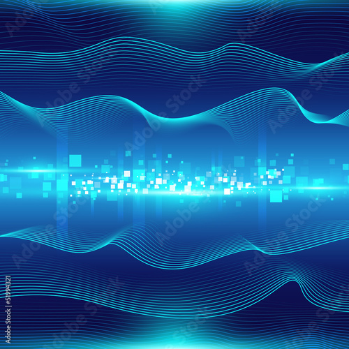Blue abstract background with waves and particles
