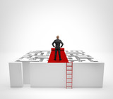 Fototapety Businessman standing on the maze with red carpet