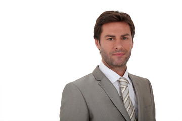 Man wearing suite white background