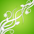 vector illustration of swirly floral against abstract background