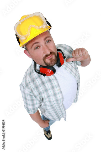 Construction worker indicating himself