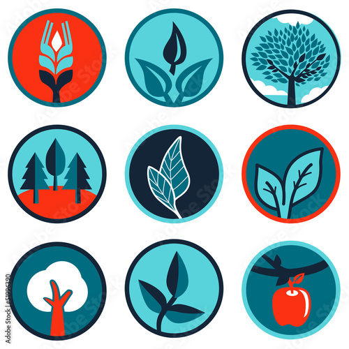 Vector emblems and signs with leaves and trees