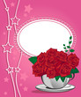 Red rose in a white cup. Happy birthday card design