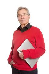 Senior Man with Laptop - on White Background