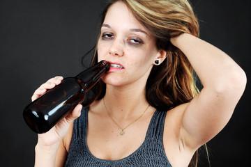 Alcoholic young moman