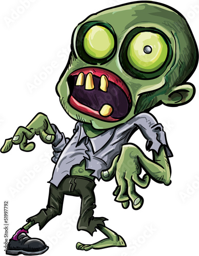 Vector illustration of a cartoon zombie