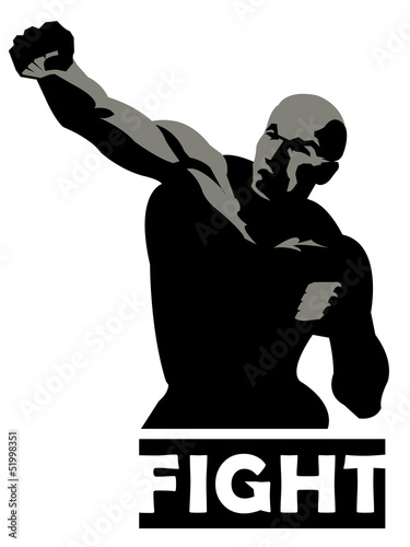 sport boxing illustration. fighting man figure icon