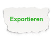 Business concept: Exportieren on Paper background