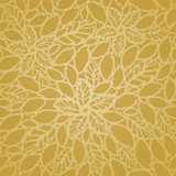 Seamless golden leaves and flowers lace wallpaper pattern