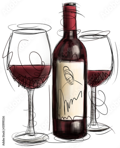 Wine Bottle and Glasses - 51999336