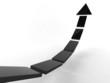 3d rendering of modern black arrow