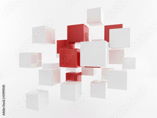 White 3d boxes / cube | Business Concept Wallpaper