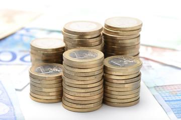 Monedas de euro apiladas