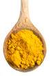 curcuma powder on a wooden spoon on white background