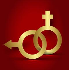 Erkek kadın sembolü ile soyut vektör arkaplan