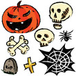 Collection of halloween objects isolated on white