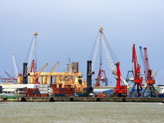 cranes in Bilbao Harbor with vivid colors