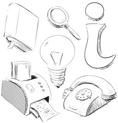 Office stuff icons set