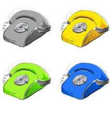 Vintage phone in many colors set