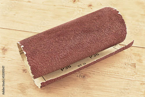 Emery paper - sandpaper on wooden board