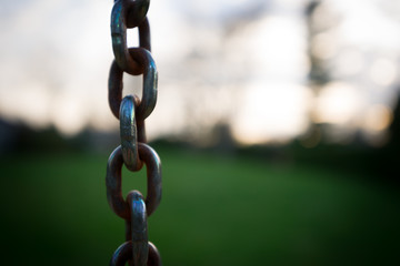 Chain Against Blurry Background