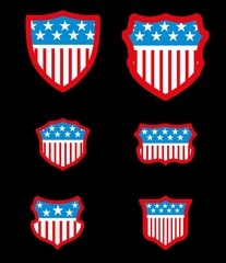 black background american flag shield vector art