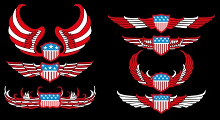 american flag wings shield vector art