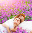 Happy lovers on lavender glade