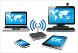 Internet via router on pc, phone, laptop and tablet