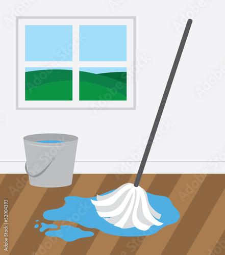 Mop and bucket cleaning wooden floor