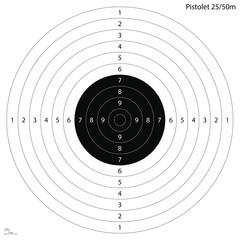 Cible officiel pistolet 25 ou 50 mètres