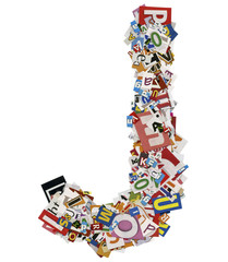 Collage made of newspaper clipping, letters, ABC
