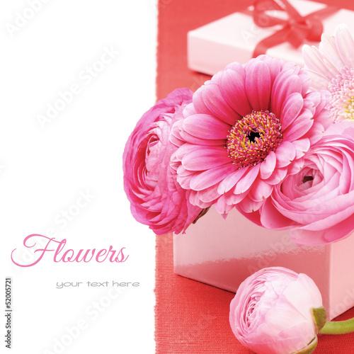 Pink peonies and gerber flower