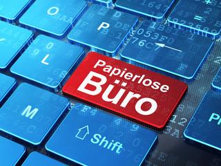 Business concept: Papierlose Buro (german) on computer keyboard
