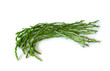 Wild, thin and fresh asparagus on white background, isolated