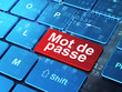 Security concept: Mot de Passe (french) on computer keyboard