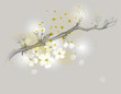 Cherry branch is in bloom / Delicate floral drawing