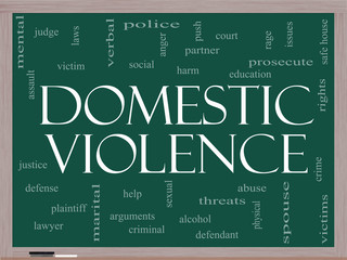Domestic Violence Word Cloud Concept on a Blackboard