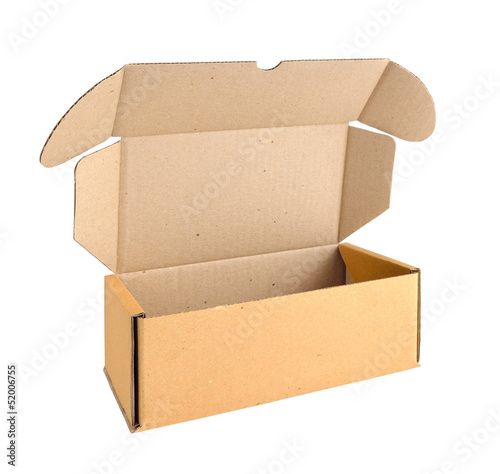 Open cardboard box. Isolated on white background.