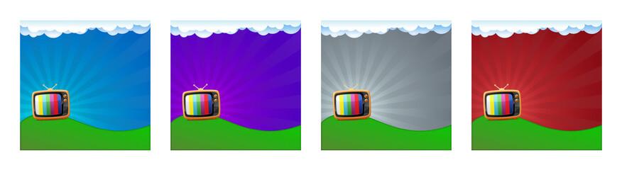 Una vecchia televisione su sfondo colorato, 4 elementi