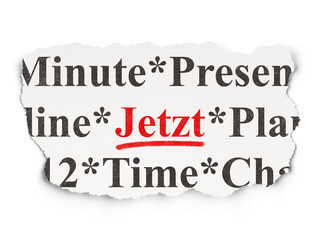 Timeline concept: Jetzt (german) on Paper background