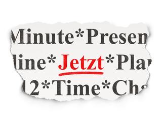 Timeline concept: Jetzt (german) on Paper background