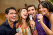 Friends karaoke singing