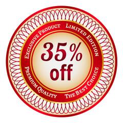 Label on 35 percent discount