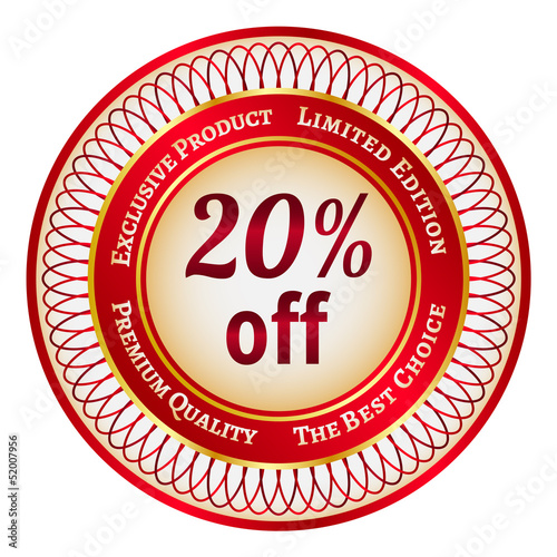 Label on 20 percent discount