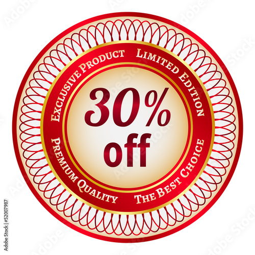 Label on 30 percent discount