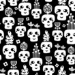 Funny skull seamless pattern with flowers.