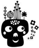 Funny skull with flowers. Vector illustration.