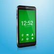 Vector smartphone with green  welcome screen