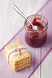 Fresh baked biscuits and red fruit jam